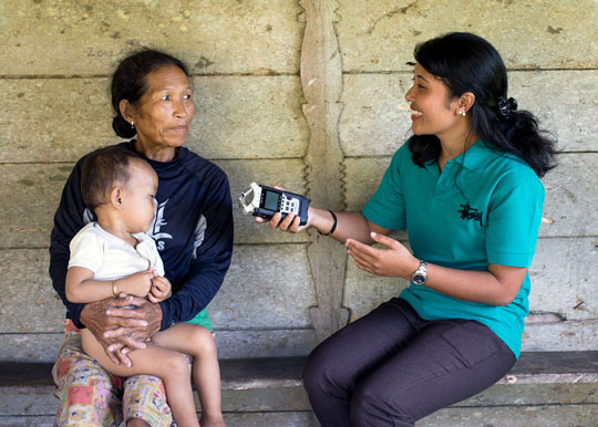 Mentawai women conducting research