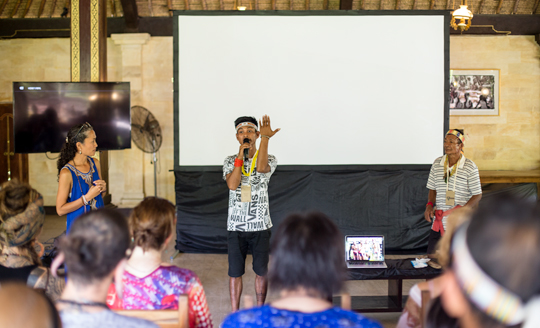 Staff and teachers of the Mentawai Cultural Education Foundation host presentations on traditional Mentawai tattoo at an indigenous festival in Ubud, Bali