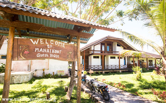 Yayasan temporary office at the beach resort homestay, Manai Koat, in Maileppet village