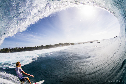 Epic barrel shot surfing Mentawai, by John Barton